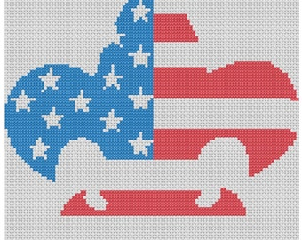Patriotic Boy Scout Cross Stitch Printed Pattern