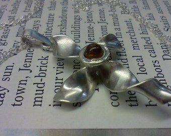 Cross of Transformation  silver cross with Balltic Amber