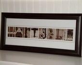 Photo Letter Art- Alphabet Letter Photography- Personalized Alphabet 8x20- Sepia- UNFRAMED Name- Wedding