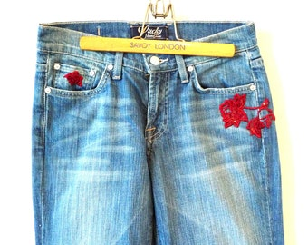 Lucky Jeans - Embellished - Red Floral Appliques - Sequins - Recycled - Size 27 Inseam 29 - Paris Red Roses - UNIQUE