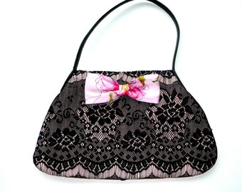 Handbag - Wedding - Marie Antoinette - Pink Silk Moire - Black Lace - Romantic -  Feminine - Hand Made - UNIQUE - Frou Frou -Recycled
