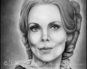 Original Artwork Angélique Collins Dark Shadows Lara Parker Barnabas Vampire Witch Drawing Charcoal Graphite Signed