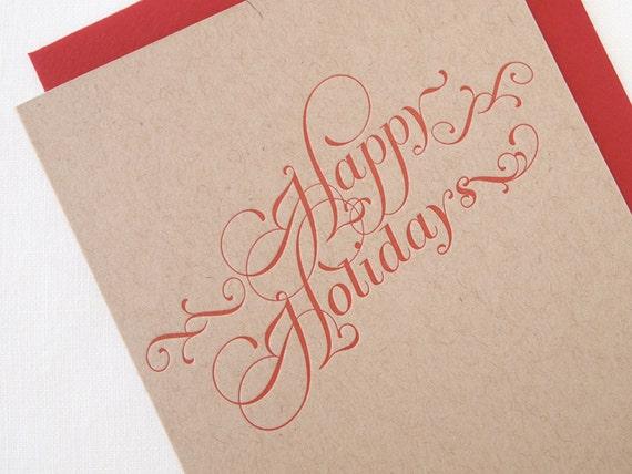 SALE Kraft Letterpress Happy Holidays Card - Box of 6