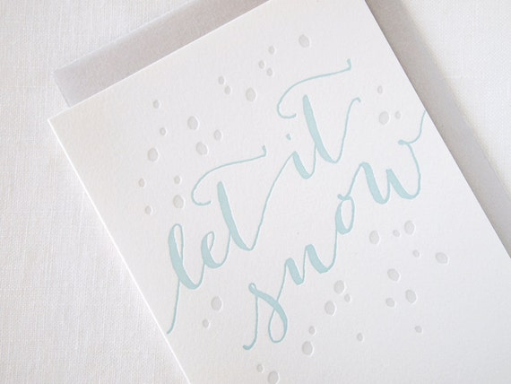 SALE Let It Snow Letterpress Holiday Card - Box of 6
