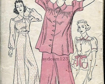 Vintage 1940s Button Front Pajama Shirt and Wide Leg Pants...New York 1212 Bust 32