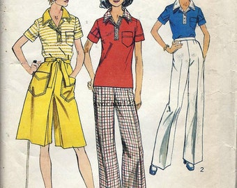 Vintage 1974 Separates Polo Shirt Cutlottes and Wide Leg Pants...Simplicity 6408 Bust 32.5