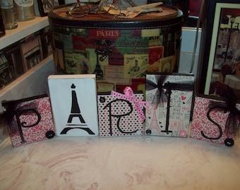 Pink damask Paris letter blocks,Paris decor,Girls Paris room,Paris bedroom decor,Paris Theme,Paris birthday decor,French decor,Eiffel Tower