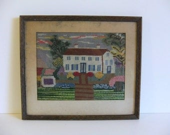 Vintage Picture, Wall Art, Antique Needlepoint Wall hanging Framed