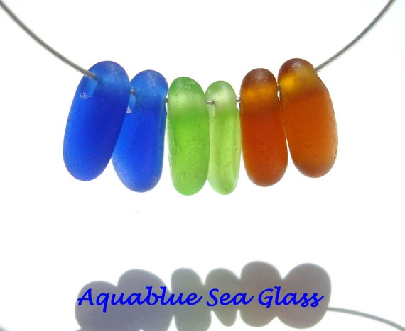 Drilled Sea Glass  3 Pairs for Earrings  Cobalt Blue, Lime Green,And  Amber FREE SHIPPING (605)