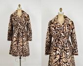 SALE Vintage Faux Leopard Coat / 1960s Animal Print / 60s Belted Coat