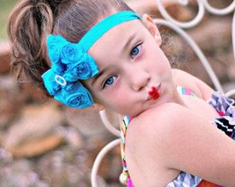 Turquoise Hair Bow - Turquoise Satin Rosette Hair Bow w/ Crystal Center Headband or Hair Clip - The Virginia - Baby Child Girls Headband