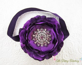 Eggplant Flower Headband, Dark Purple Silk Flower w/ Large Crystal Center Stretchy Headband or Hair Clip, Baby Toddler Child Girls Headband