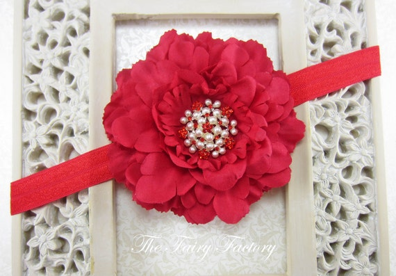 Red Flower Headband, Velvety Flower w/ Pearls & Red Crystals Headband or Hair Clip, The Eva, Baby Headband, Newborn Child Girls Headband