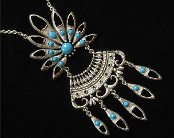 Runway Worthy Faux Turquoise Native Look Statment Necklace, 1970's