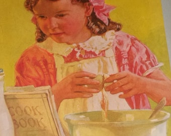 Vintage Mc Call Magazine Girl Cooking Picture