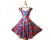 Vintage 1950's Cotton Dress Alex Colman Sweetheart Open back floral Party Rockabilly Pinup Size S