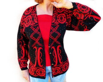 Autumn Cardigan Vintage 70s Black and Red Jacket CARDUCCI Knit Sweater Medium /Large