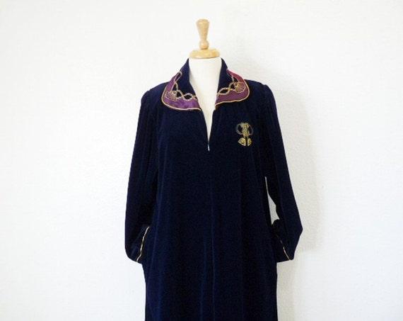 SALE Vintage Robe loungewear CHRISTIAN DIOR Hostess Gown Dark Blue Velvet