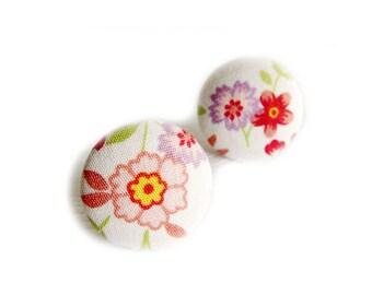 Button Earrings / Clip On Earrings - colorful floral earrings