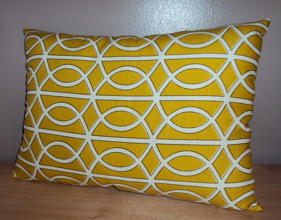 20x14 Dwell Studio Yellow Lattice Bella Porte Lumbar Pillow Cover - Free Shipping