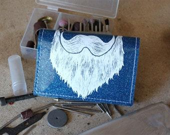 On Sale - Weird Beard Mini Wallet - Blue Metal Flake