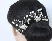 a SET OF 2 White Fresh Water and Swarovski Pearl Floral Bridal Hair Pin, Bridal Hair Piece w