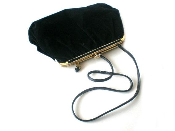Black Velour Clutch, Vintage Clutch Purse, 80s Purse, Black and Gold, Retro Fashion