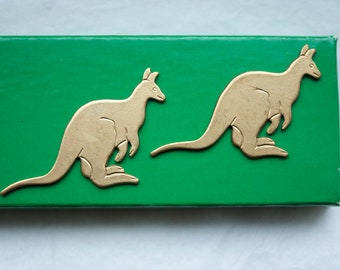2 Vintage Brass Kangaroos // 1960s