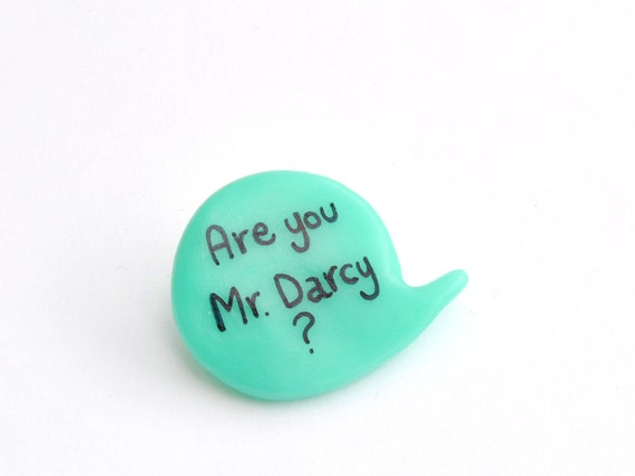 Polymer clay Jane Austen Mr Darcy aqua brooch