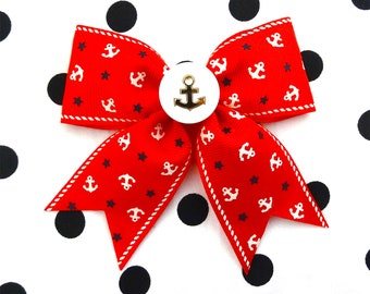 Vintage Sailor Doll Anchors and Stars Hair Bow - Red