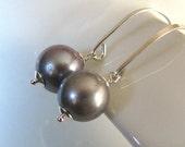Pearl Earrings, Platinum Pearl Earrings, Sterling Silver, Silver Pearl Earrings, AAA Natural Freshwater, Gray Pearl Earrings - Silver Fog