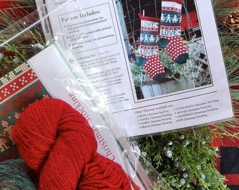 Christmas Stocking Knitting Kit for the Holidays LOVE Theme