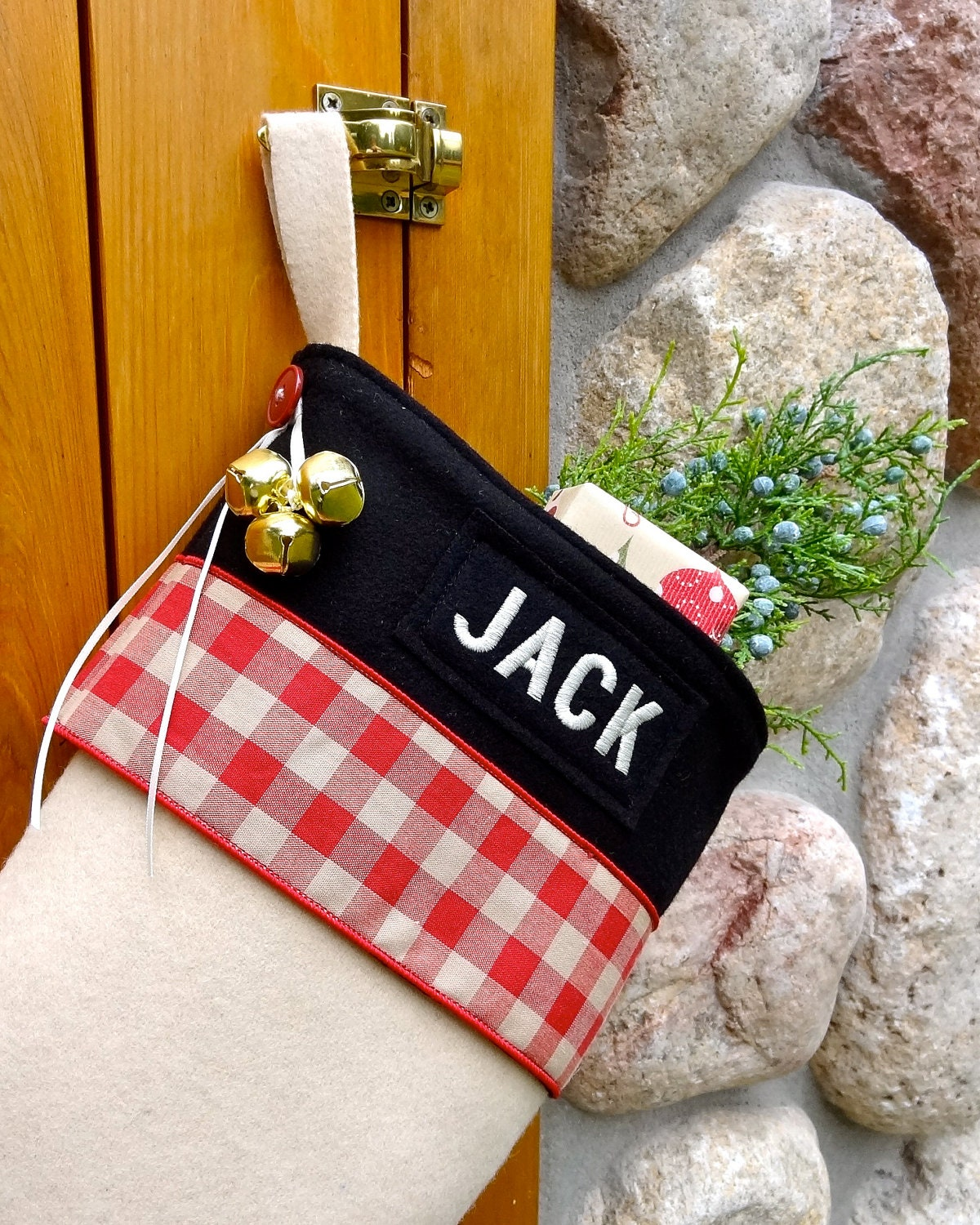 rustic wool handmade christmas stockings personalized with. Black Bedroom Furniture Sets. Home Design Ideas