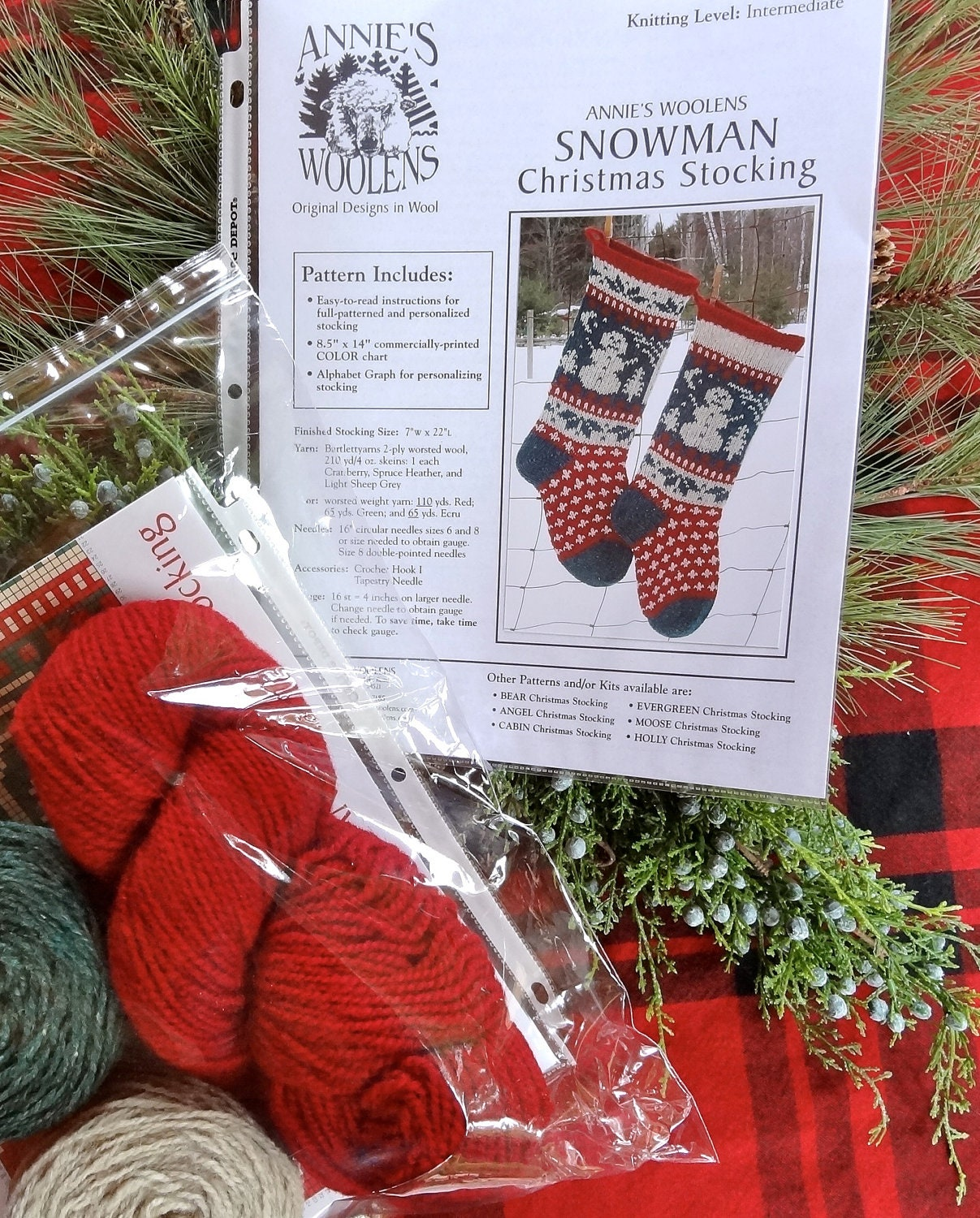 Knit Pattern For Christmas Stocking Kit : Knitted Snowman Christmas Stocking KIT with pattern by