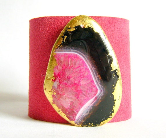 Reserved for Rachel - suede women's cuff bracelet - fuschia suede with pink and black gilded agate - size 1