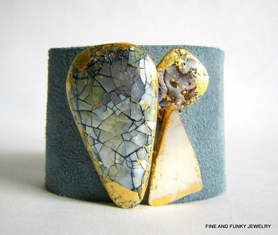 cuff bracelet pastel blue suede with trio of gilded shells - size 1