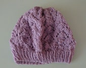 Lace Knit Purple Slouchy Hat