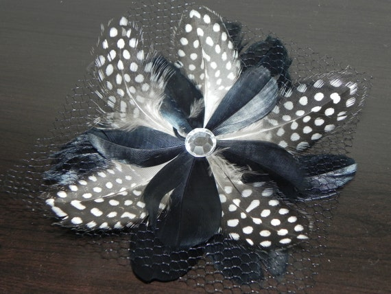 Black fascinator, black feather flower, black head piece