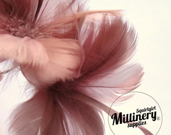 Mauve Goose Feather Flower Hat Trim for Fascinators, Wedding Veils and Hat Making