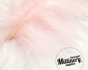 20 Fluffy Marabou Feathers for Millinery Hat Trimming & Crafts - Light Pink
