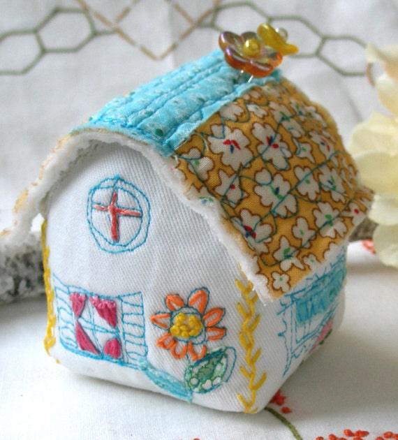 Reserved for Robyn- Pincushion, Sunny Yellow House with emery and hand embroidery
