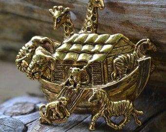 Vintage Noah's Ark Brooch Pin Signed Avon