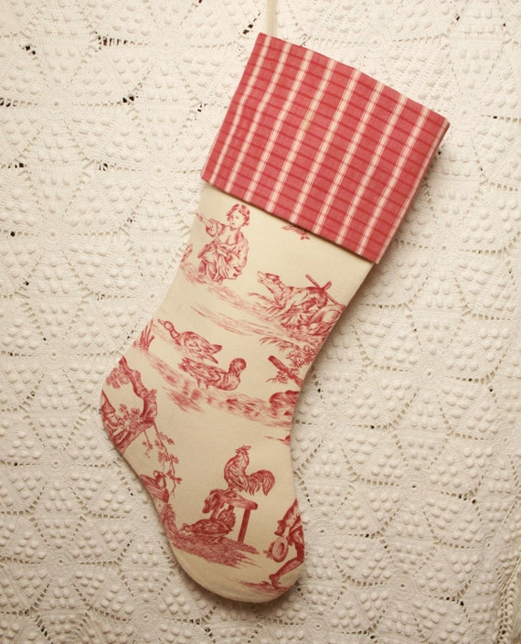 Lovely Antique French Toile de Jouy and Vintage French Ticking Christmas Stocking