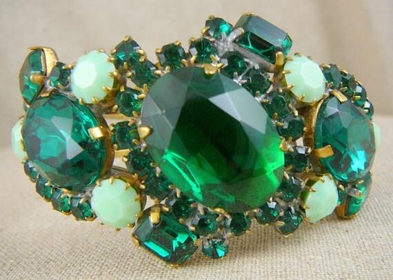FABULOUS Emerald Green Husar D Czech Rhinestone Cuff Bracelet