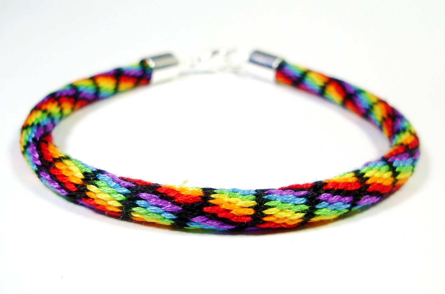 cotton kumihimo bracelet in rainbow and black clearance