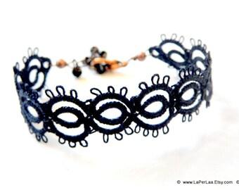 Filigree Lace Tatted Bracelet Cuff Vintage Feel - FAKE TATOO - black arabesque