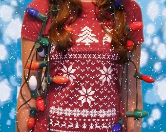 Ugly Christmas Sweater t shirt -- Deer jumping women's -- S M L XL XXL skip n whistle