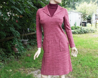 Italian 60s Dress, Vintage Dress, Italian Dress, Maroon Dress, Fall Dress, Sweater Dress, Wool Dress by Gibi Roma Size 8