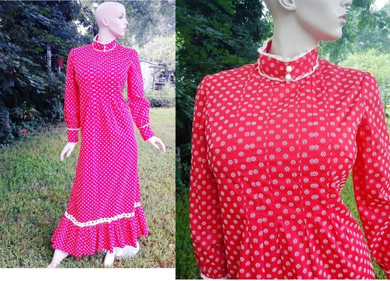 70s Vintage Granny Style Red and White Maxi Dress with Lace Trim Size 8-10 70s Dress Vintage Dress Vintage Maxi