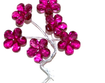 6 Fuchsia Pink Acrylic Flowers on Wired Stems